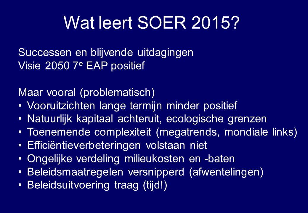 Successen en blijvende uitdagingen Visie 2050 7 e EAP positief Maar vooral (problematisch) Vooruitzichten lange termijn minder positief Natuurlijk kap