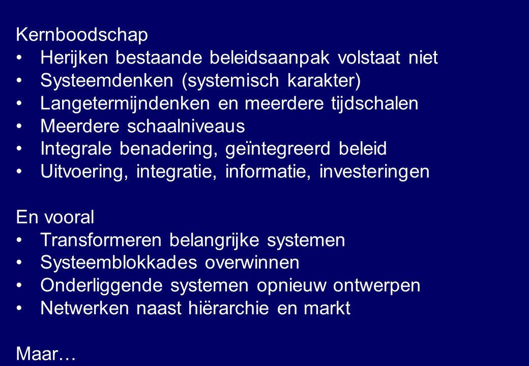 Kernboodschap Herijken bestaande beleidsaanpak volstaat niet Systeemdenken (systemisch karakter) Langetermijndenken en meerdere tijdschalen Meerdere s
