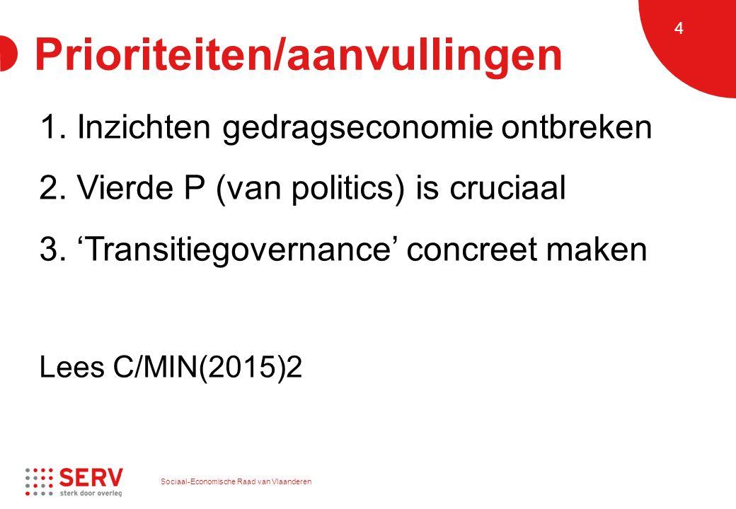 Sociaal-Economische Raad van Vlaanderen 4 Prioriteiten/aanvullingen 1. Inzichten gedragseconomie ontbreken 2. Vierde P (van politics) is cruciaal 3. '