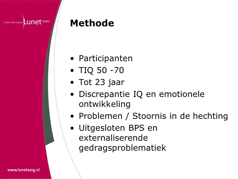 Methode Participanten TIQ 50 -70 Tot 23 jaar Discrepantie IQ en emotionele ontwikkeling Problemen / Stoornis in de hechting Uitgesloten BPS en externa
