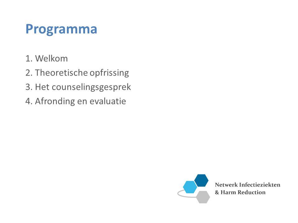 Programma 1. Welkom 2. Theoretische opfrissing 3. Het counselingsgesprek 4. Afronding en evaluatie