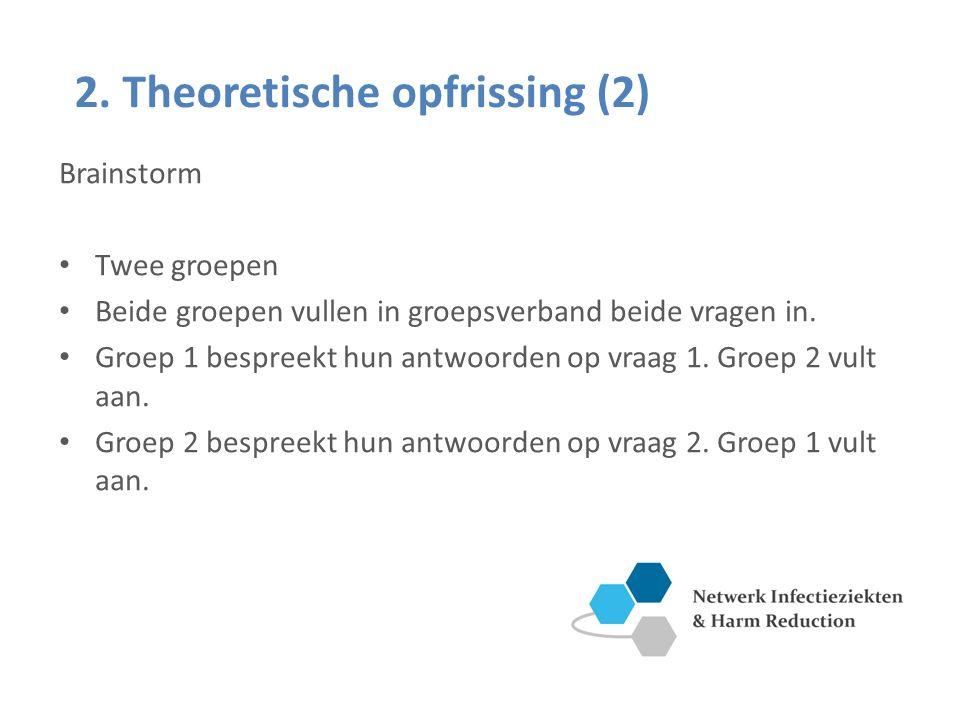 Brainstorm Twee groepen Beide groepen vullen in groepsverband beide vragen in.