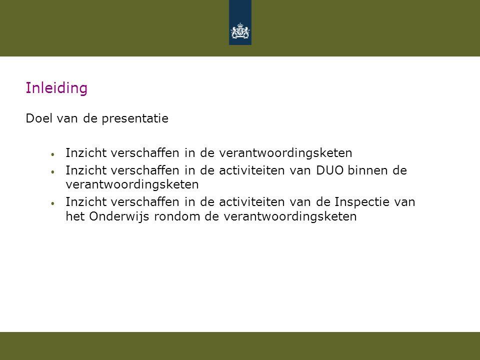 Inleiding Doel van de presentatie Inzicht verschaffen in de verantwoordingsketen Inzicht verschaffen in de activiteiten van DUO binnen de verantwoordingsketen Inzicht verschaffen in de activiteiten van de Inspectie van het Onderwijs rondom de verantwoordingsketen