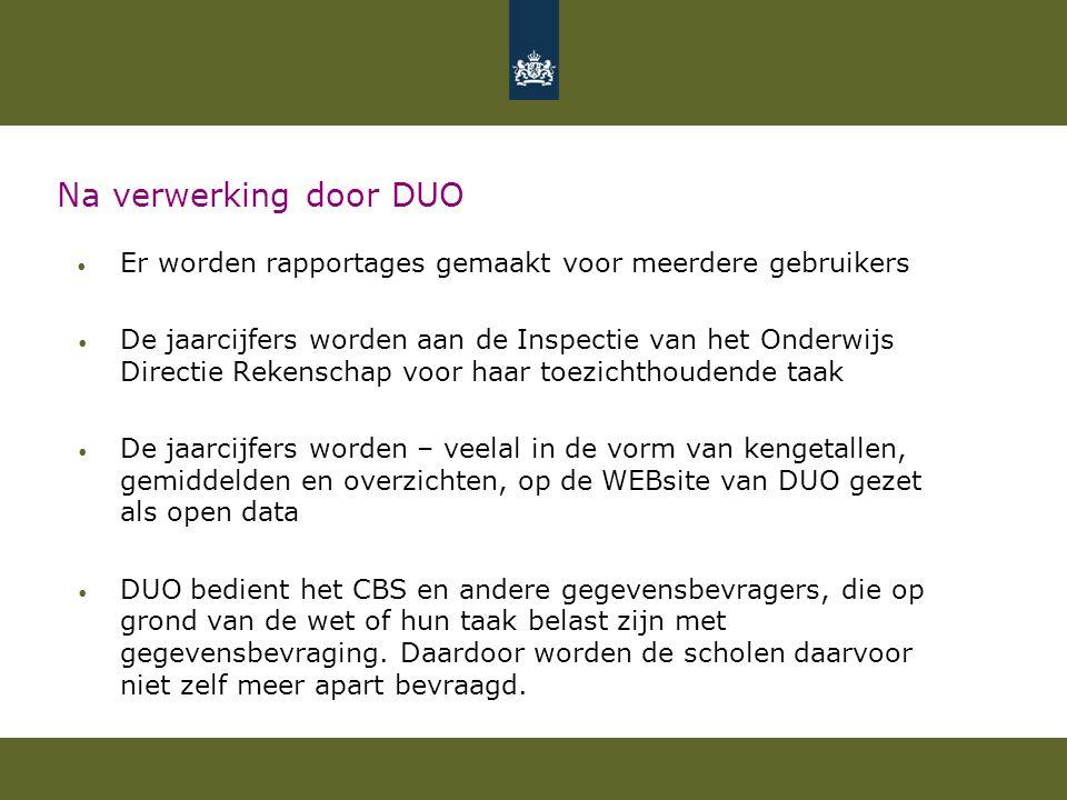 Na verwerking door DUO Er worden rapportages gemaakt voor meerdere gebruikers De jaarcijfers worden aan de Inspectie van het Onderwijs Directie Rekens