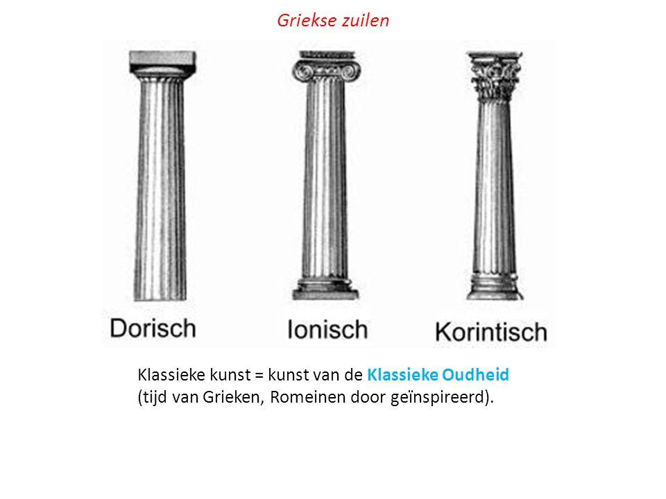 Klassieke kunst = kunst van de Klassieke Oudheid (tijd van Grieken, Romeinen door geïnspireerd). Griekse zuilen