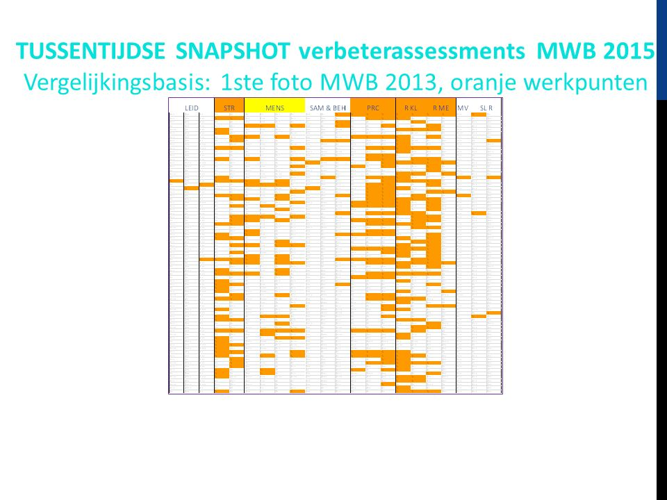TUSSENTIJDSE SNAPSHOT verbeterassessments MWB 2015