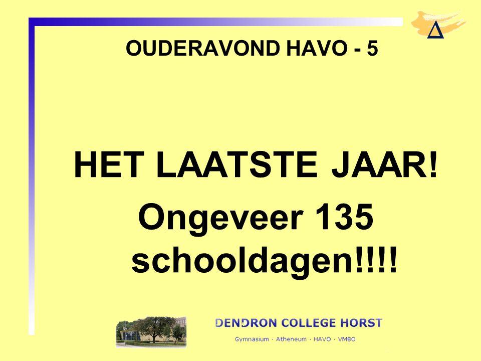 OUDERAVOND HAVO - 5 HET LAATSTE JAAR! Ongeveer 135 schooldagen!!!!