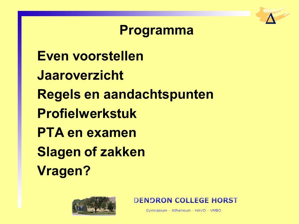 Programma Even voorstellen Jaaroverzicht Regels en aandachtspunten Profielwerkstuk PTA en examen Slagen of zakken Vragen?