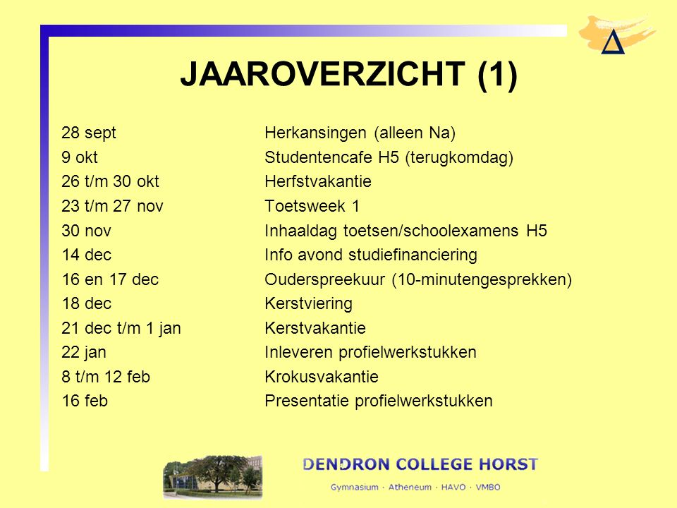 JAAROVERZICHT (1) 28 septHerkansingen (alleen Na) 9 oktStudentencafe H5 (terugkomdag) 26 t/m 30 okt Herfstvakantie 23 t/m 27 novToetsweek 1 30 novInha