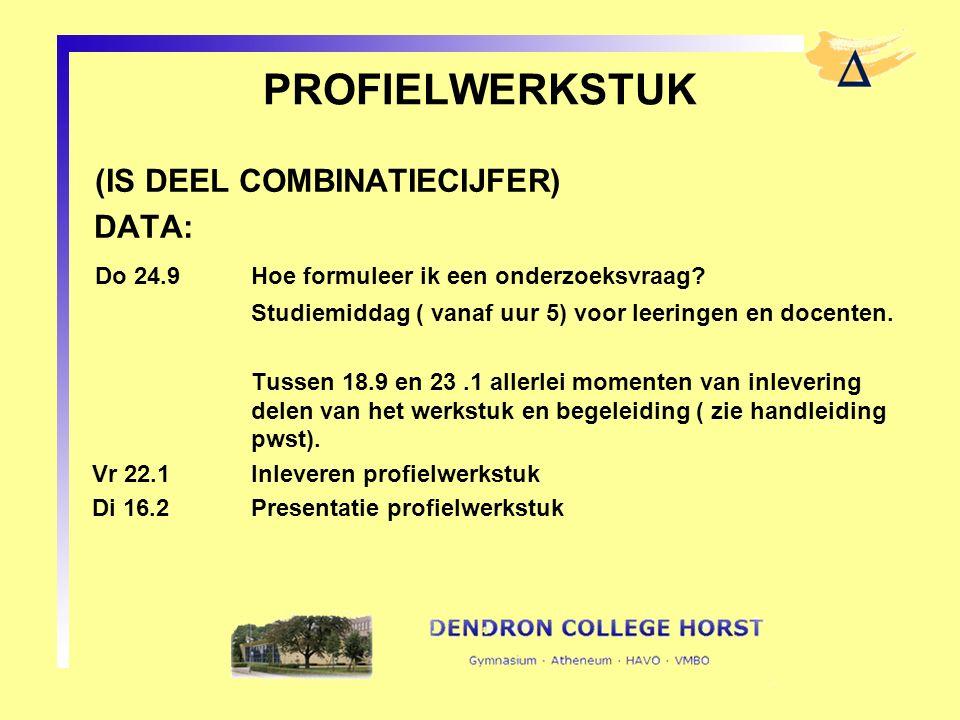 PROFIELWERKSTUK (IS DEEL COMBINATIECIJFER) DATA: Do 24.9Hoe formuleer ik een onderzoeksvraag? Studiemiddag ( vanaf uur 5) voor leeringen en docenten.