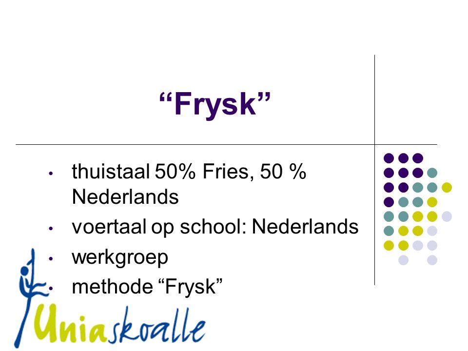 Frysk thuistaal 50% Fries, 50 % Nederlands voertaal op school: Nederlands werkgroep methode Frysk