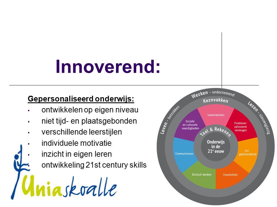 Innoverend: Gepersonaliseerd onderwijs: ontwikkelen op eigen niveau niet tijd- en plaatsgebonden verschillende leerstijlen individuele motivatie inzicht in eigen leren ontwikkeling 21st century skills