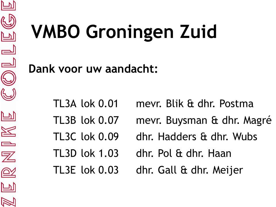 VMBO Groningen Zuid Dank voor uw aandacht: TL3Alok 0.01mevr. Blik & dhr. Postma TL3Blok 0.07mevr. Buysman & dhr. Magré TL3Clok 0.09dhr. Hadders & dhr.