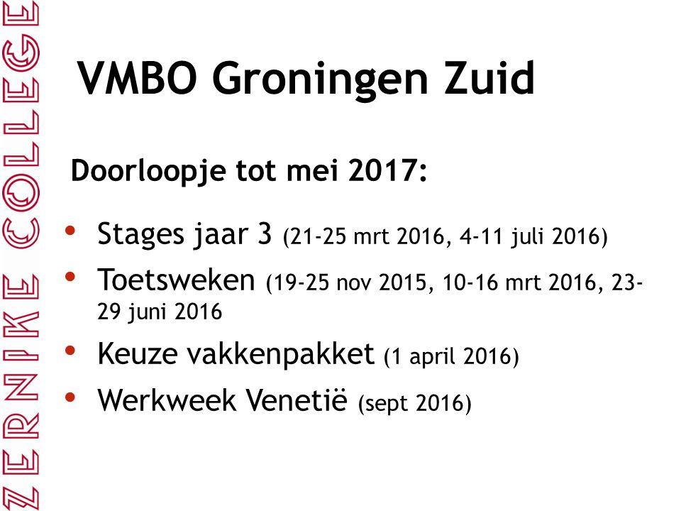 VMBO Groningen Zuid Doorloopje tot mei 2017: Stages jaar 3 (21-25 mrt 2016, 4-11 juli 2016) Toetsweken (19-25 nov 2015, 10-16 mrt 2016, 23- 29 juni 2016 Keuze vakkenpakket (1 april 2016) Werkweek Venetië (sept 2016)