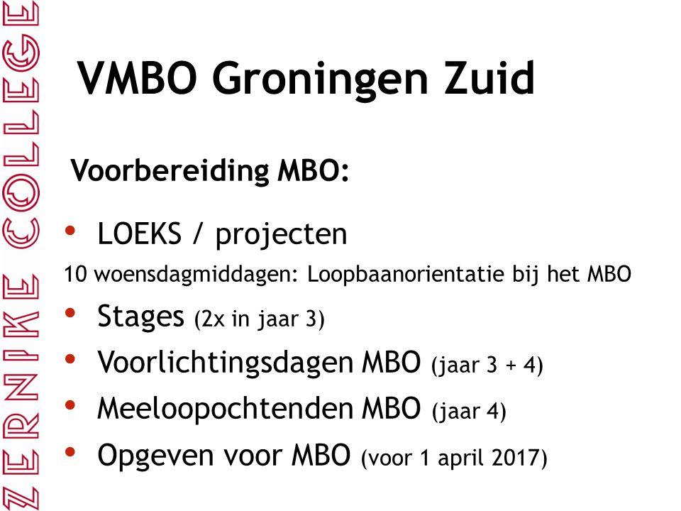 VMBO Groningen Zuid Voorbereiding MBO: LOEKS / projecten 10 woensdagmiddagen: Loopbaanorientatie bij het MBO Stages (2x in jaar 3) Voorlichtingsdagen MBO (jaar 3 + 4) Meeloopochtenden MBO (jaar 4) Opgeven voor MBO (voor 1 april 2017)