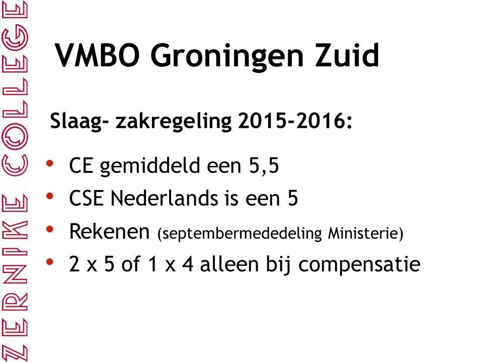 VMBO Groningen Zuid Slaag- zakregeling 2015-2016: CE gemiddeld een 5,5 CSE Nederlands is een 5 Rekenen (septembermededeling Ministerie) 2 x 5 of 1 x 4 alleen bij compensatie