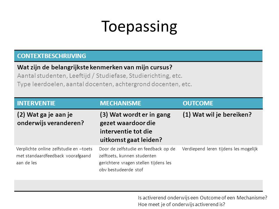 Toepassing INTERVENTIEMECHANISMEOUTCOME (2) Wat ga je aan je onderwijs veranderen.