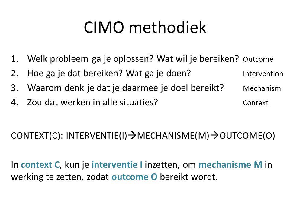 CIMO methodiek 1.Welk probleem ga je oplossen? Wat wil je bereiken? Outcome 2.Hoe ga je dat bereiken? Wat ga je doen? Intervention 3.Waarom denk je da