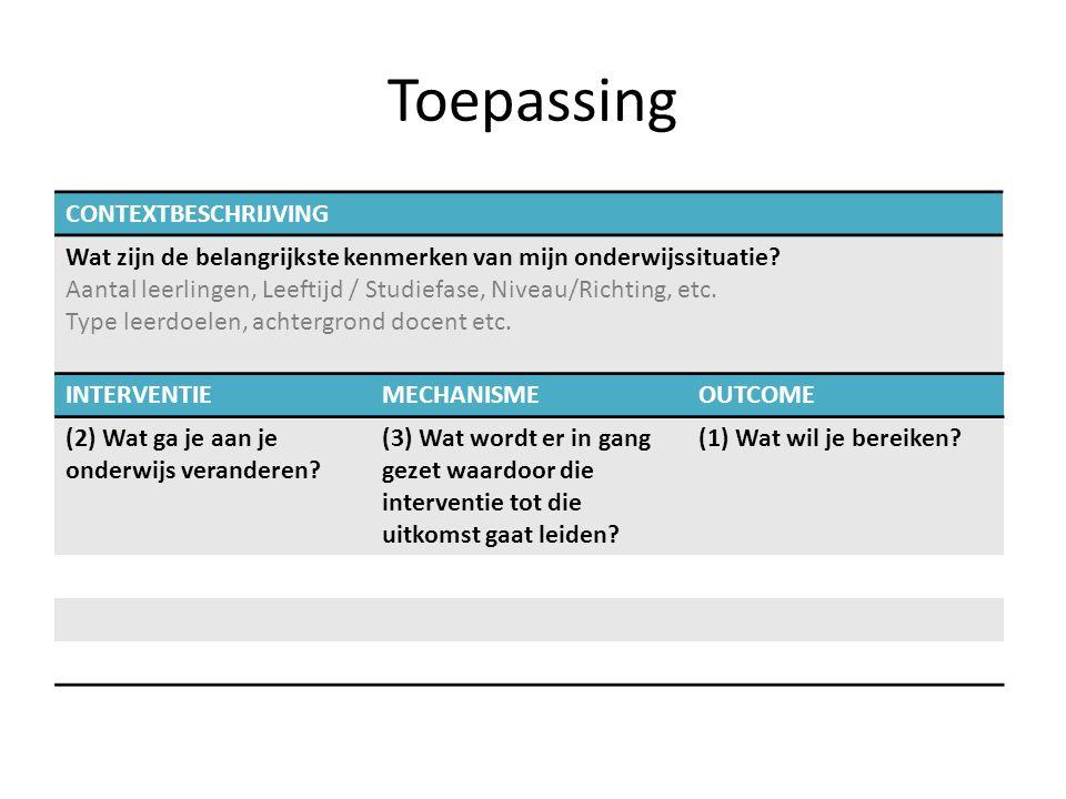 Toepassing INTERVENTIEMECHANISMEOUTCOME (2) Wat ga je aan je onderwijs veranderen? (3) Wat wordt er in gang gezet waardoor die interventie tot die uit