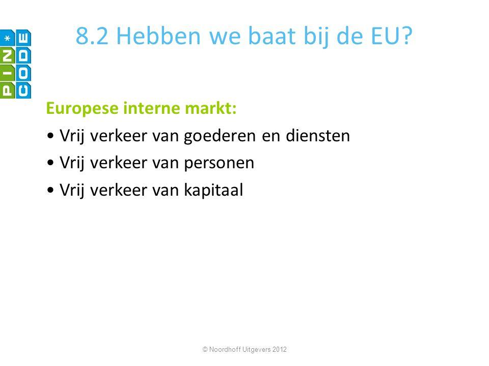 8.2 Hebben we baat bij de EU? Europese interne markt: Vrij verkeer van goederen en diensten Vrij verkeer van personen Vrij verkeer van kapitaal © Noor