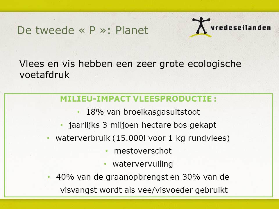 MILIEU-IMPACT VLEESPRODUCTIE : 18% van broeikasgasuitstoot jaarlijks 3 miljoen hectare bos gekapt waterverbruik (15.000l voor 1 kg rundvlees) mestover