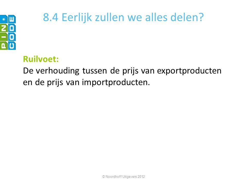 8.4 Eerlijk zullen we alles delen? Ruilvoet: De verhouding tussen de prijs van exportproducten en de prijs van importproducten. © Noordhoff Uitgevers
