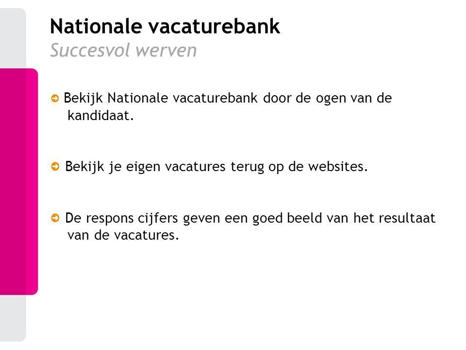 Bekijk Nationale vacaturebank door de ogen van de kandidaat. Bekijk je eigen vacatures terug op de websites. De respons cijfers geven een goed beeld v