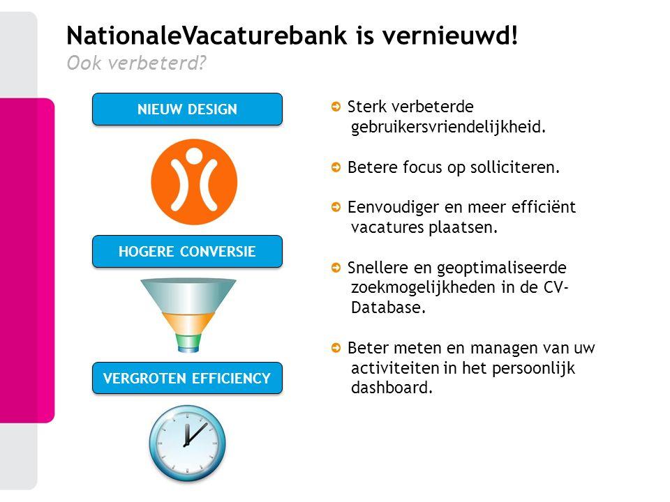 HOGERE CONVERSIE VERGROTEN EFFICIENCY NIEUW DESIGN NationaleVacaturebank is vernieuwd! Ook verbeterd? Sterk verbeterde gebruikersvriendelijkheid. Bete