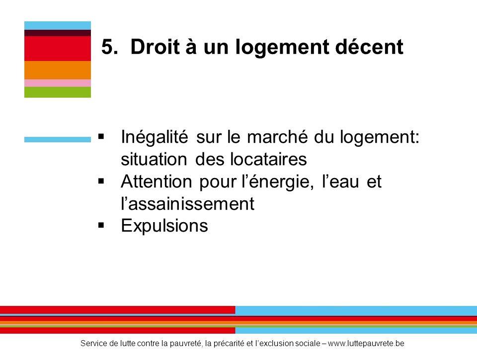 5. Droit à un logement décent  Inégalité sur le marché du logement: situation des locataires  Attention pour l'énergie, l'eau et l'assainissement 