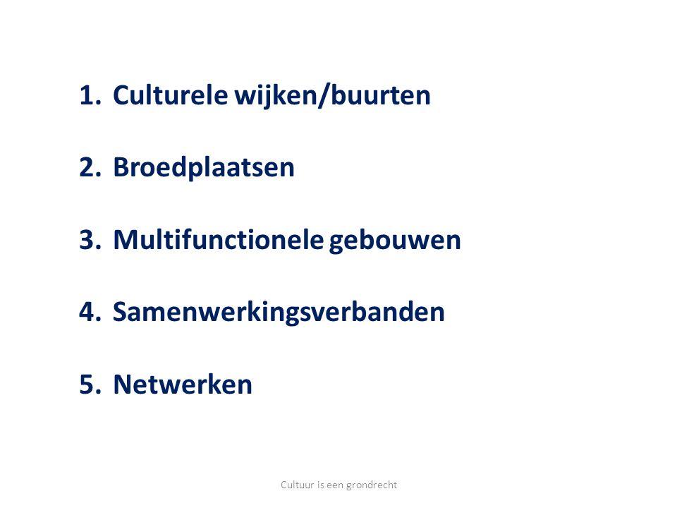 1.Culturele wijken/buurten 2.Broedplaatsen 3.Multifunctionele gebouwen 4.Samenwerkingsverbanden 5.Netwerken