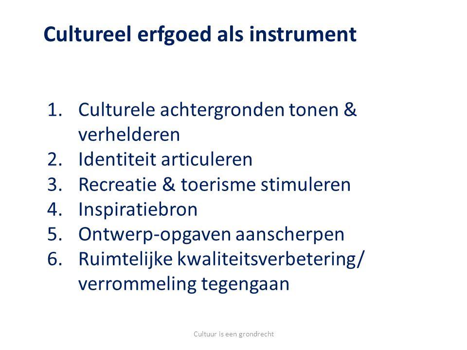 1.Culturele achtergronden tonen & verhelderen 2.Identiteit articuleren 3.Recreatie & toerisme stimuleren 4.Inspiratiebron 5.Ontwerp-opgaven aanscherpen 6.Ruimtelijke kwaliteitsverbetering/ verrommeling tegengaan Cultureel erfgoed als instrument