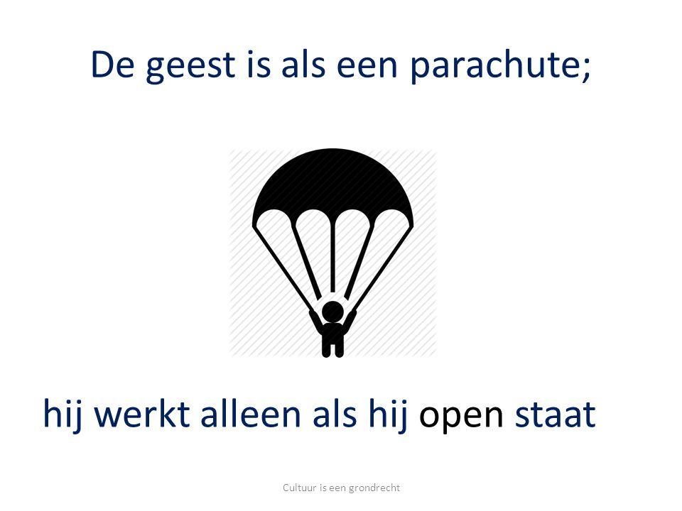 De geest is als een parachute; Cultuur is een grondrecht hij werkt alleen als hij open staat
