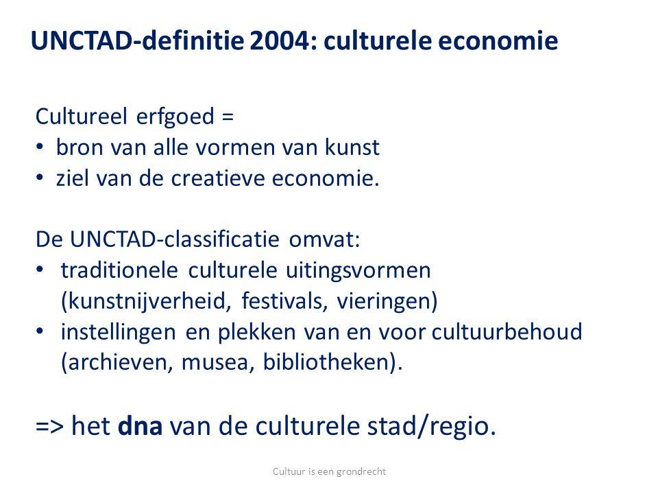 Cultureel erfgoed = bron van alle vormen van kunst ziel van de creatieve economie.