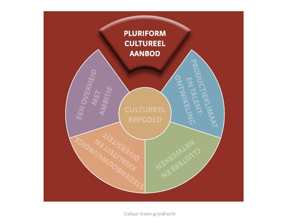 Culturele regio's => succesvolle regio's Ze winnen de gunst van: bedrijven bezoekers bewoners bollebozen Cultuur is een grondrecht