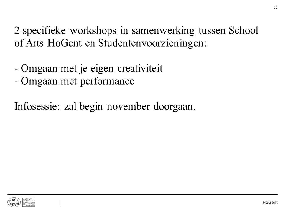 2 specifieke workshops in samenwerking tussen School of Arts HoGent en Studentenvoorzieningen: - Omgaan met je eigen creativiteit - Omgaan met perform