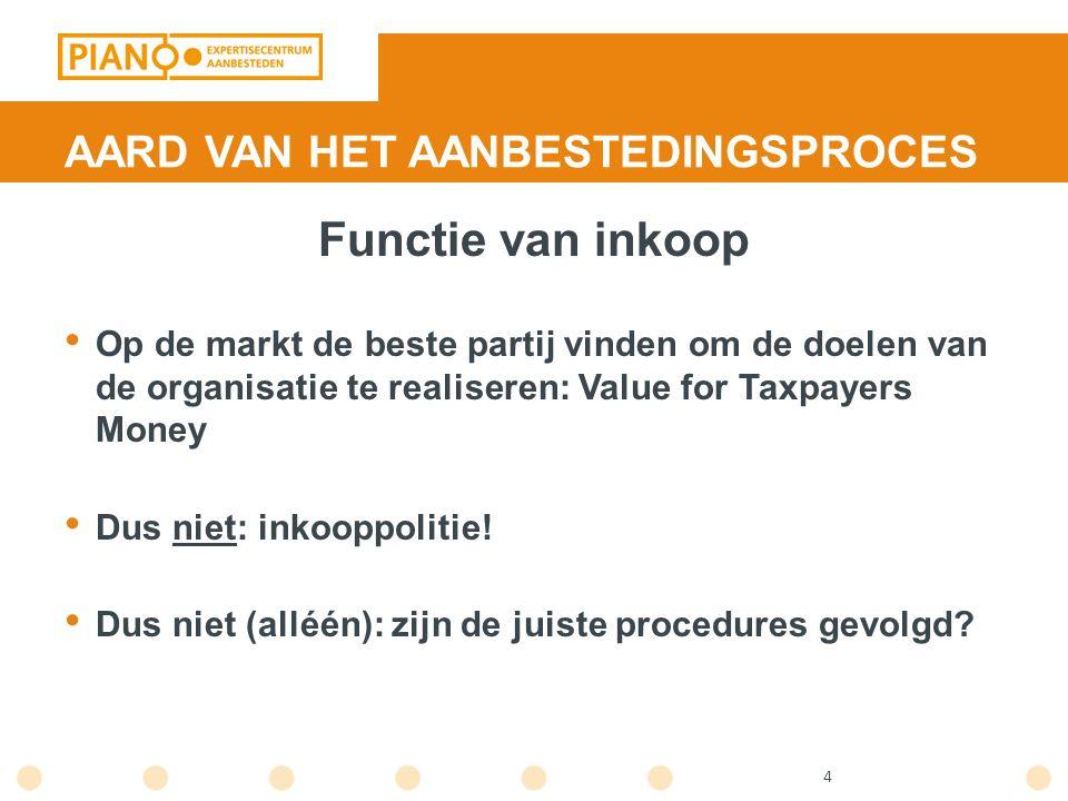 4 AARD VAN HET AANBESTEDINGSPROCES Functie van inkoop Op de markt de beste partij vinden om de doelen van de organisatie te realiseren: Value for Taxp