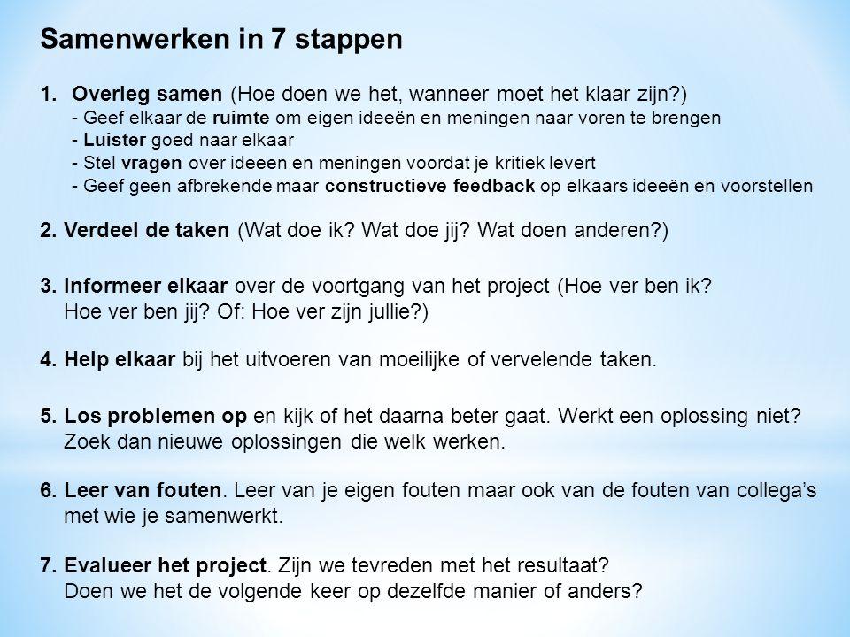 Samenwerken in 7 stappen 1.Overleg samen (Hoe doen we het, wanneer moet het klaar zijn?) - Geef elkaar de ruimte om eigen ideeën en meningen naar vore