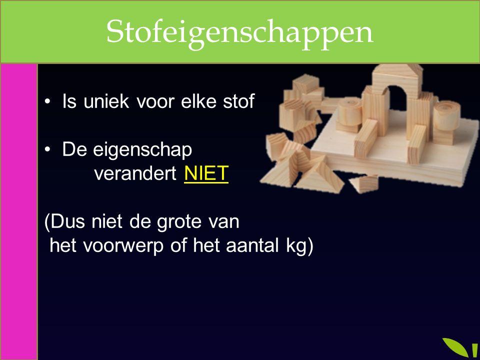 Is uniek voor elke stof De eigenschap verandert NIET (Dus niet de grote van het voorwerp of het aantal kg) Stofeigenschappen