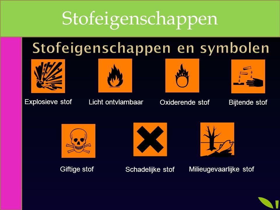 Explosieve stof Licht ontvlambaar Oxiderende stof Giftige stof Bijtende stof Schadelijke stof Milieugevaarlijke stof Stofeigenschappen