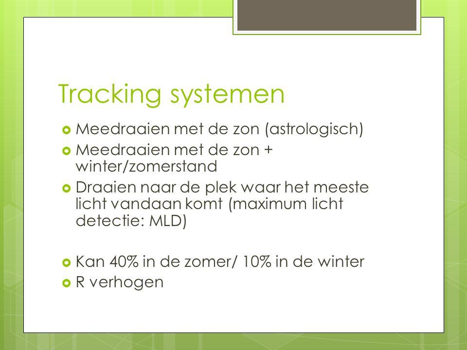 Tracking systemen  Meedraaien met de zon (astrologisch)  Meedraaien met de zon + winter/zomerstand  Draaien naar de plek waar het meeste licht vand