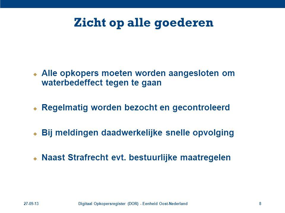 27-09-13Digitaal Opkopersregister (DOR) - Eenheid Oost-Nederland9 Verdere uitrol DOR  Taak politie:  Controle opkopers ism gemeenten  Opsporen verdachten  Opmaken bestuurlijke rapportages