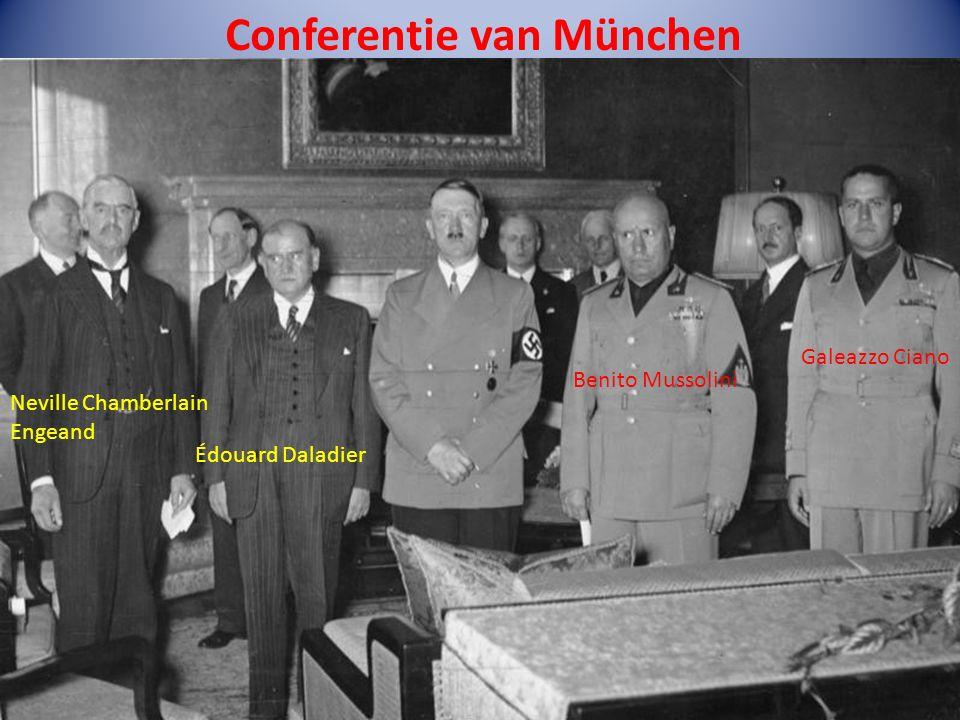 Conferentie van München Neville Chamberlain Engeand Édouard Daladier Benito Mussolini Galeazzo Ciano