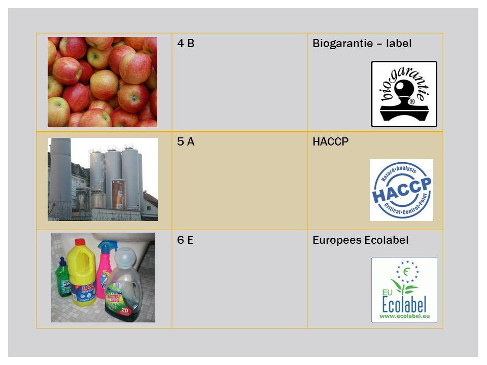 4 BBiogarantie – label 5 AHACCP 6 EEuropees Ecolabel