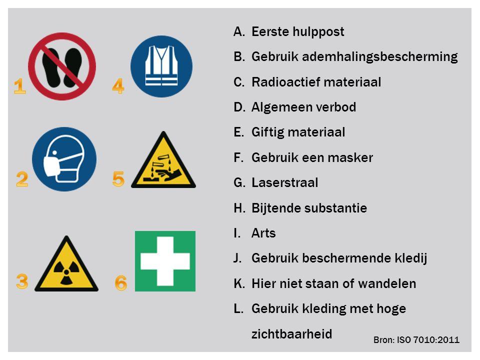 A.Eerste hulppost B.Gebruik ademhalingsbescherming C.Radioactief materiaal D.Algemeen verbod E.Giftig materiaal F.Gebruik een masker G.Laserstraal H.B
