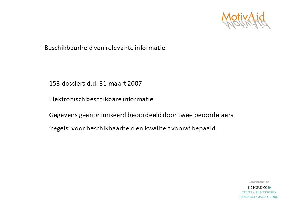 Beschikbaarheid van relevante informatie 153 dossiers d.d.