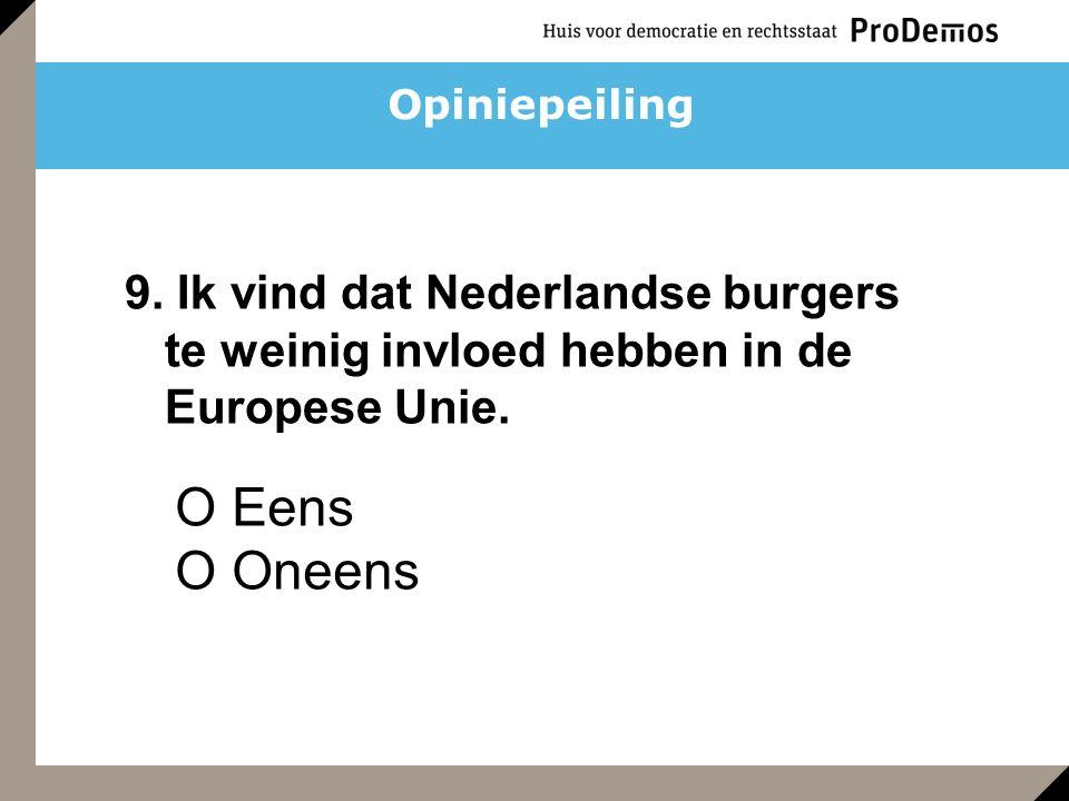 O Eens O Oneens 9. Ik vind dat Nederlandse burgers te weinig invloed hebben in de Europese Unie. Opiniepeiling