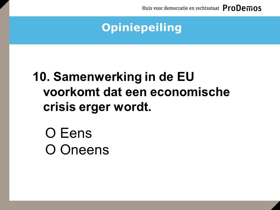 O Eens O Oneens 10. Samenwerking in de EU voorkomt dat een economische crisis erger wordt. Opiniepeiling