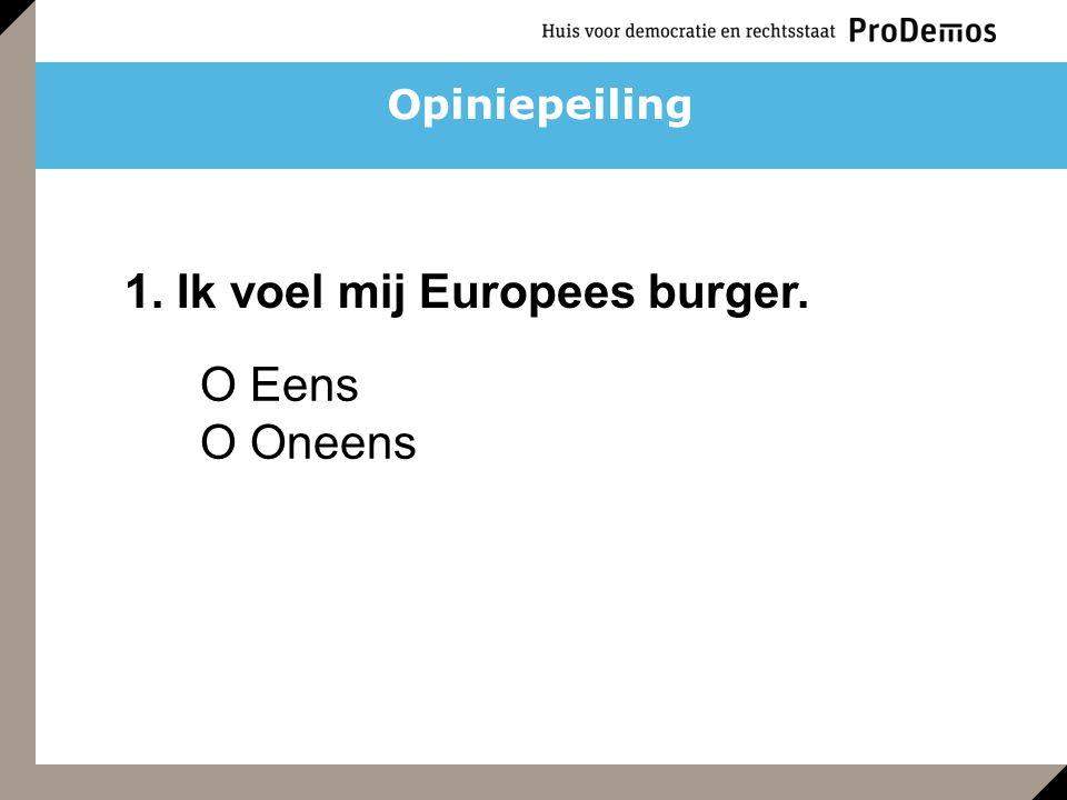 O Eens O Oneens 1. Ik voel mij Europees burger. Opiniepeiling