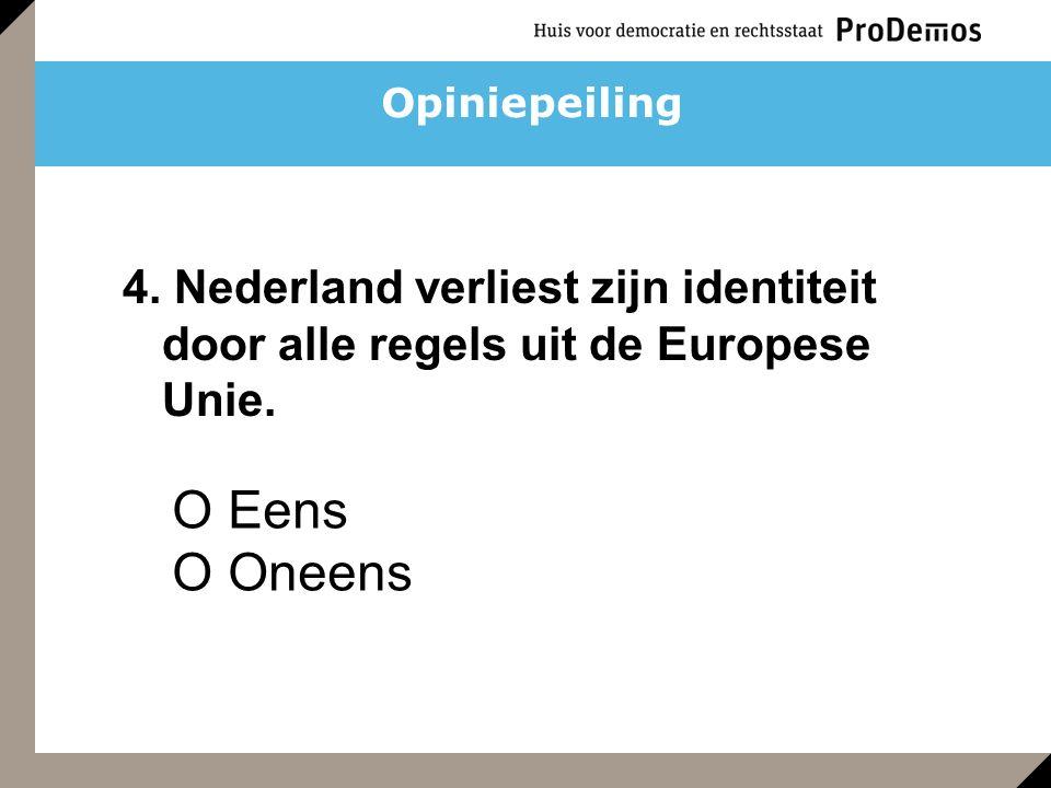 O Eens O Oneens 4. Nederland verliest zijn identiteit door alle regels uit de Europese Unie. Opiniepeiling