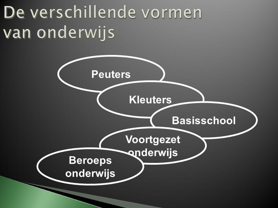 De verschillende vormen van onderwijs Peuters Kleuters Basisschool Voortgezet onderwijs Beroeps onderwijs